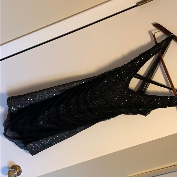 Express Dresses & Skirts - Express Black & Silver Sequin Dress